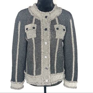 Laura Ashley black / gray crinkle button-up jacket